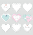 Cute lacy textile hearts set vector image
