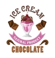 Ice cream badge with chocolate and sherry sundae vector image