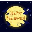 cartoon happy halloween on background of the moon vector image