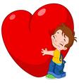kid hug heart vector image