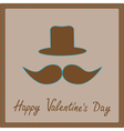 Mustache and hat Happy Valentines Day card vector image