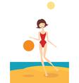 The girl on the beach vector image