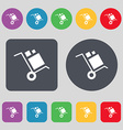 loader Icon sign A set of 12 colored buttons Flat vector image