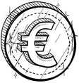 doodle currency coin euro vector image vector image