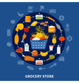 Grocery Food Supermarket Round Composition vector image