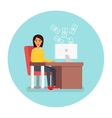 Business woman at workplace in office with vector image