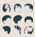 women modern fashion hairstyles and trendy haircut vector image