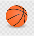 Basketball ball isolated on transparent checkered vector image
