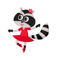 cute raccoon character ballet dancer in pointed vector image