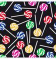 colorful sweet lollipops seamless dark pattern vector image