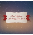 Christmas realistic white paper Label with Ribbon vector image