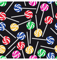 colorful sweet lollipops seamless dark pattern vector image