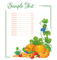 menu page from vegetables and fruits with slices vector image