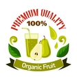 Pear fruits with glass of juice cartoon badge vector image