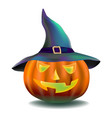 pumpkin in a magic hat 2 vector image
