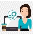 woman laptop clock idea vector image