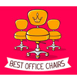 yellow office chairs with ribbon on red b vector image