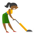 young african woman cleaning with vacuum cleaner vector image