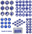 HEALTH SAFETY SIGN BUTTON SET vector image