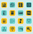 set of 16 executive icons includes planning vector image