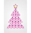Breast Cancer ribbon Christmas tree vector image