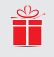 The red gift box on a gray background vector image