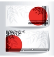 Banners with bamboo trees and leaves with red sun vector image