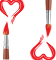 valentin red hart brash vector image vector image