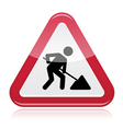 Road works sign under construction vector image
