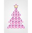 Breast Cancer ribbon Christmas tree vector image