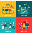 Disabled Working Flat Color Icons Composition vector image