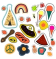 hippie embroidery hand drawn patches collection vector image