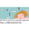 positive thinking dreaming girl vector image