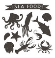 vintage silhouettes of sea animals vector image