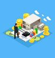 isometric finance and investment concept vector image