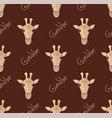 seamless pattern with giraffes on a brown vector image