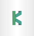 letter k green paper icon vector image