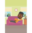 Man lying on sofa vector image vector image