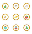 banking icons set cartoon style vector image