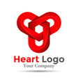 Colorful 3d Volume Logo Design Three hearts symbol vector image