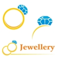 Rings with diamond vector image