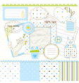 Scrapbook elements for baby boy vector image