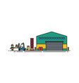 warehouse with roller doors forklift and loader vector image