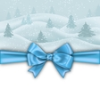 Winter Background with Blue Bow Ribbon vector image