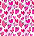 Seamless pattern with doodled hearts vector image