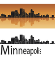 Minneapolis skyline in orange background vector image vector image