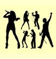 people singing silhouette vector image