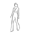 Model on a runway in designer outfit vector image