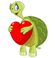 turtle with heart vector image vector image