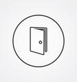 door outline symbol dark on white background logo vector image